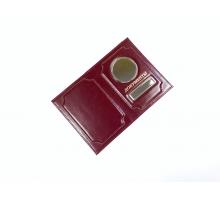 Обложка на автодокументы и паспорт с металлической вставкой анилин цветной