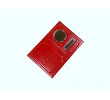 Обложка на автодокументы и паспорт с металлической вставкой змея/рептилия цветной