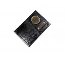 Обложка на автодокументы и паспорт с металлической вставкой змея/рептилия черный