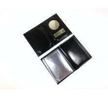 Обложка на автодокументы и паспорт с металлической вставкой анилин черный