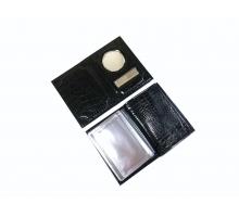 Обложка на автодокументы и паспорт с металлической вставкой крокодил черный
