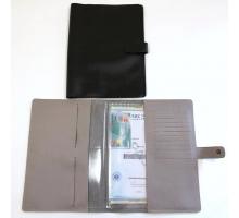Органайзер для документов формат В5 из натуральной кожи флотер с прорезями для паспортов и визиток с кнопкой