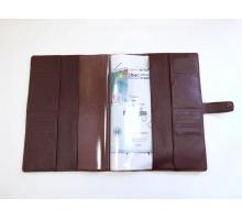 Органайзер для документов формат А4 из натуральной кожи флотер с прорезями для паспортов и визиток с кнопкой