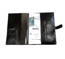 Органайзер для документов формат А4 из натуральной кожи краст/анилин с прорезями для паспортов и визиток с кнопкой