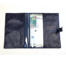 Органайзер для документов формат В5 из натуральной кожи краст/анилин с прорезями для паспортов и визиток с кнопкой