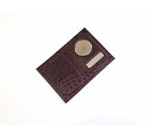 Обложка на автодокументы и паспорт с металлической вставкой кайман матовый цветной