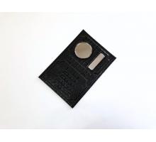 Обложка на автодокументы и паспорт с металлической вставкой кайман матовый черный