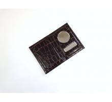 Обложка на автодокументы и паспорт с металлической вставкой кайман лак цветной