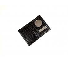 Обложка на автодокументы и паспорт с металлической вставкой кайман лак черный